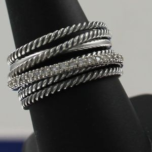 David Yurman 925 Crossover Wide Cable Diamond Ring